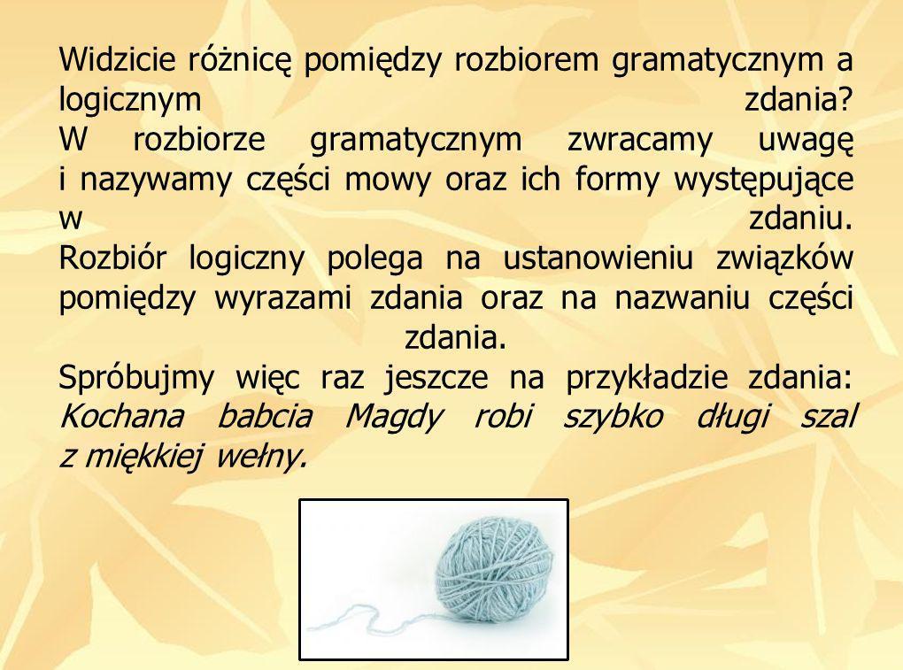 Widzicie różnicę pomiędzy rozbiorem gramatycznym a logicznym zdania