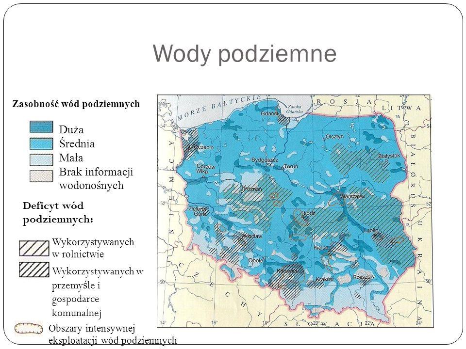 Wody podziemne Duża Średnia Mała Brak informacji wodonośnych