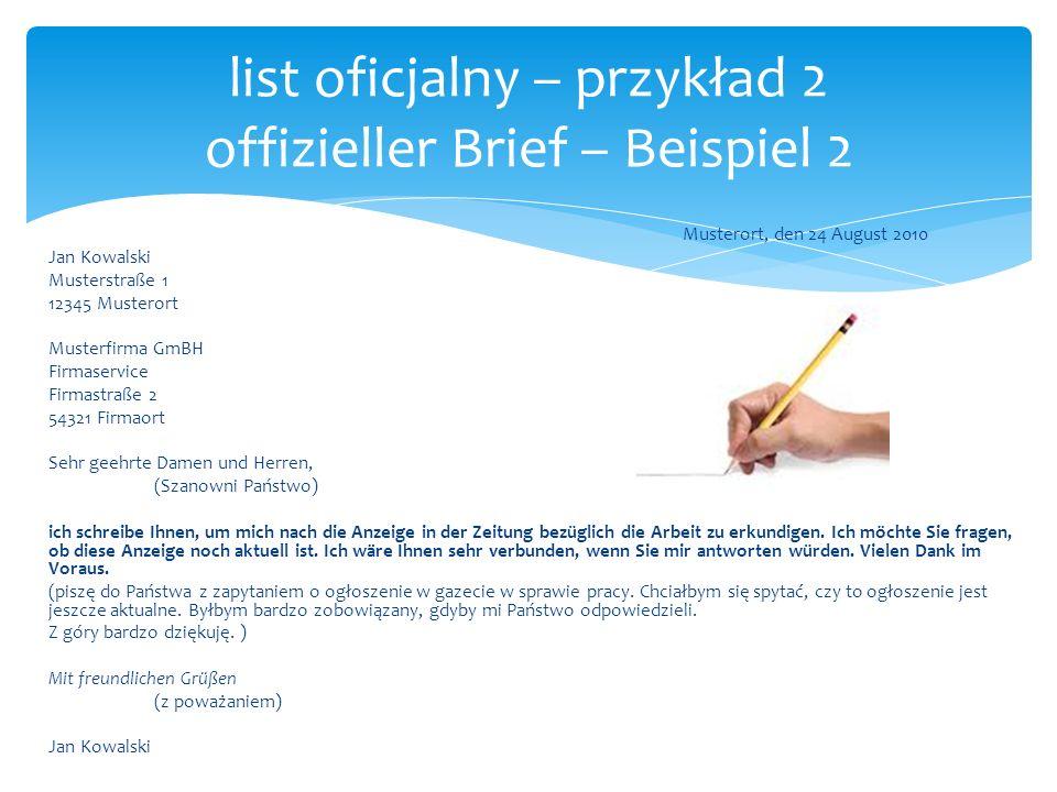 list oficjalny – przykład 2 offizieller Brief – Beispiel 2