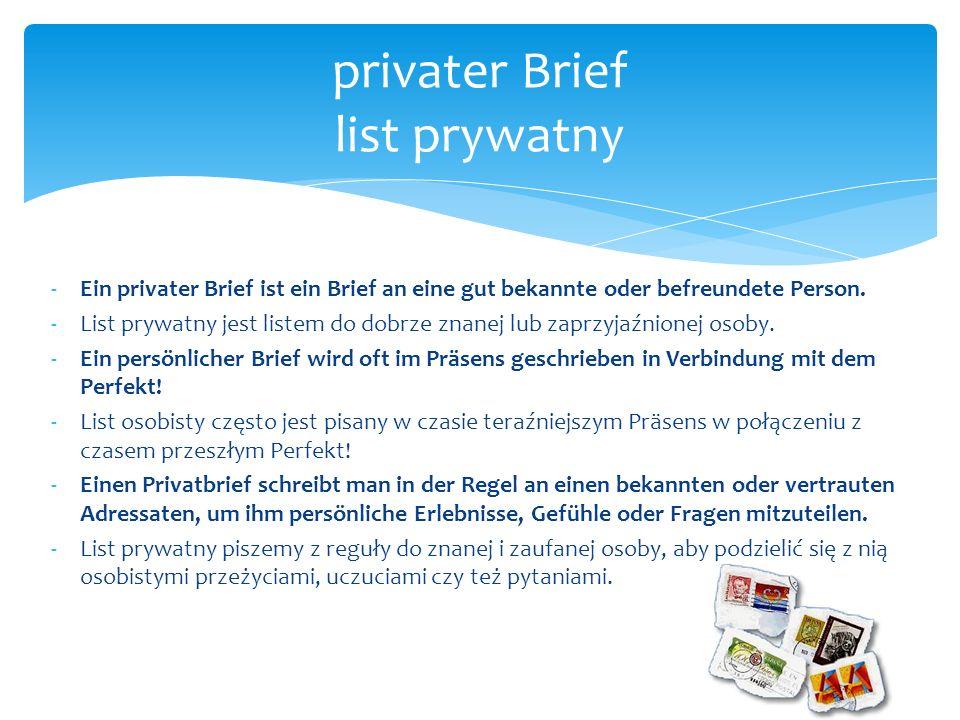privater Brief list prywatny