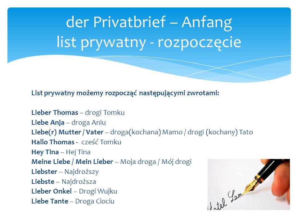 der Privatbrief – Anfang list prywatny - rozpoczęcie