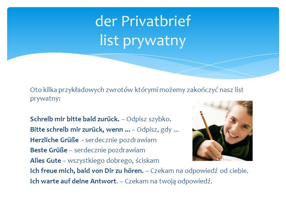 der Privatbrief list prywatny