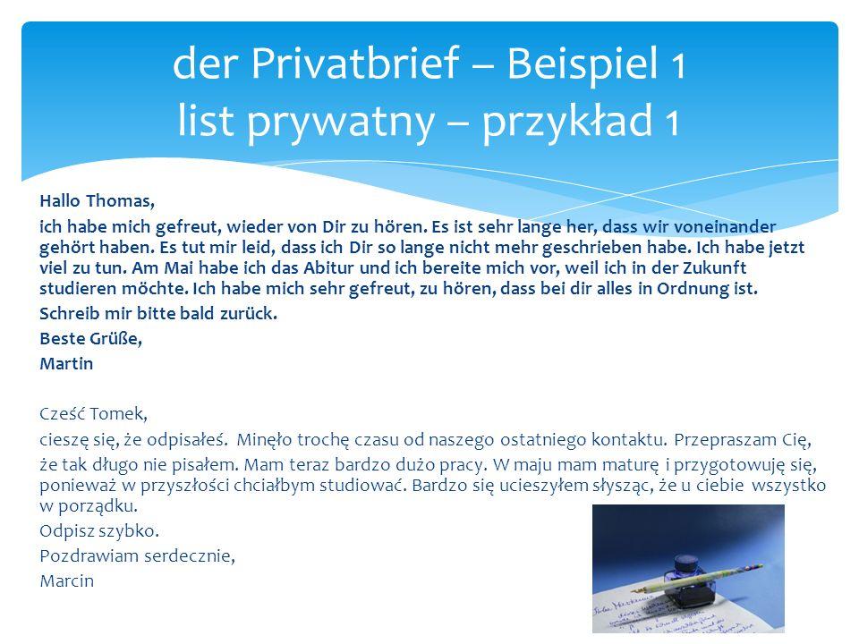 der Privatbrief – Beispiel 1 list prywatny – przykład 1
