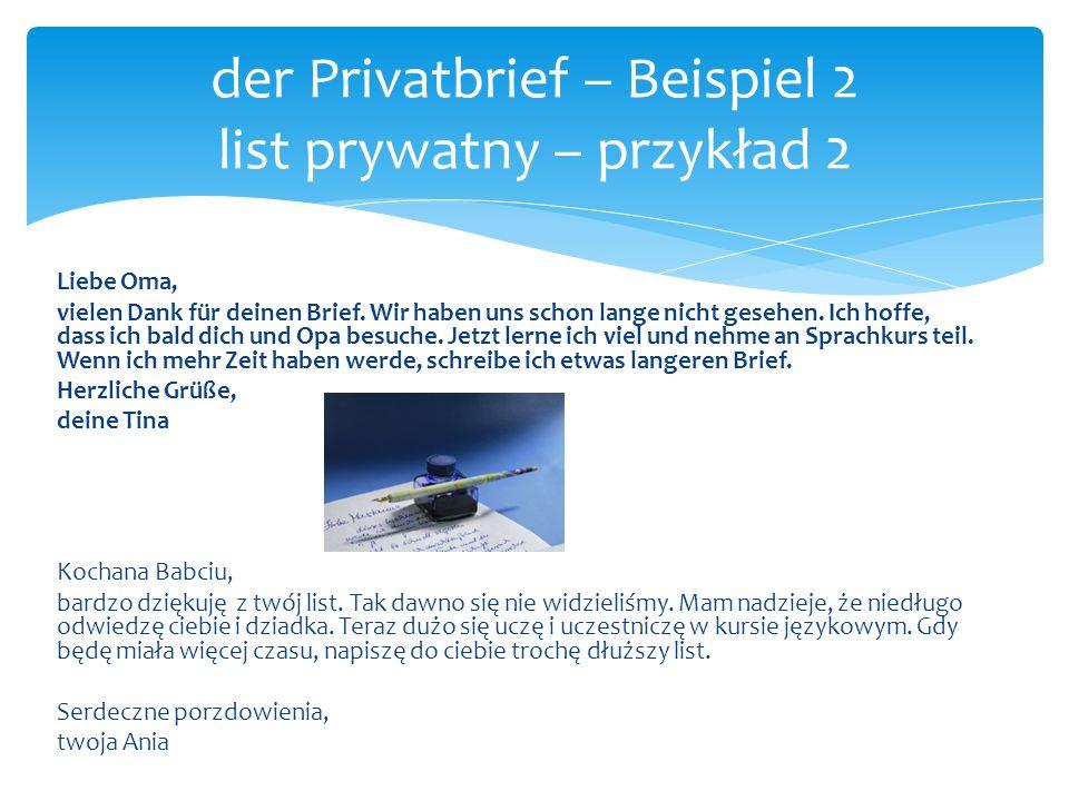 der Privatbrief – Beispiel 2 list prywatny – przykład 2