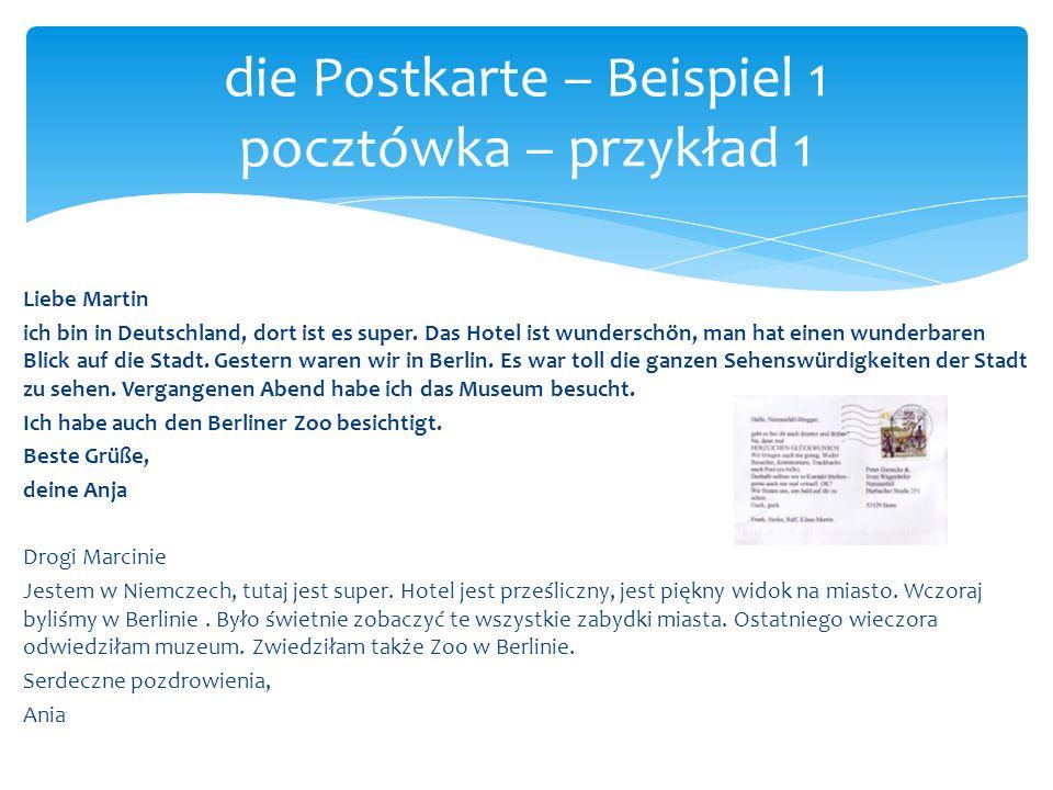 die Postkarte – Beispiel 1 pocztówka – przykład 1