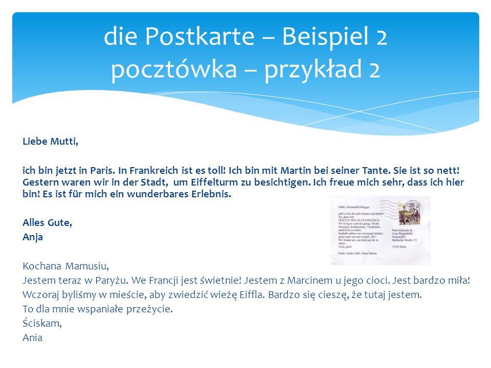die Postkarte – Beispiel 2 pocztówka – przykład 2
