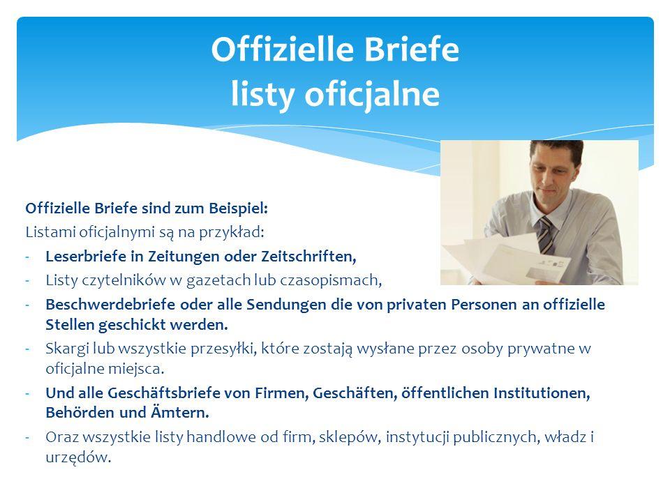 Offizielle Briefe listy oficjalne