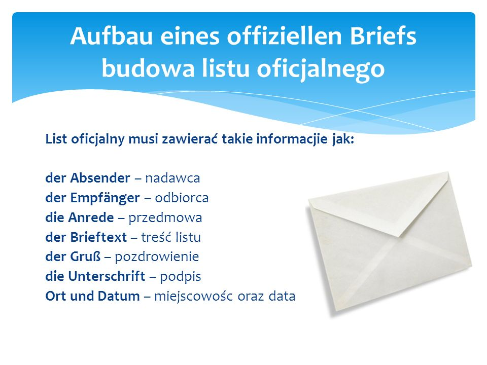 Aufbau eines offiziellen Briefs budowa listu oficjalnego