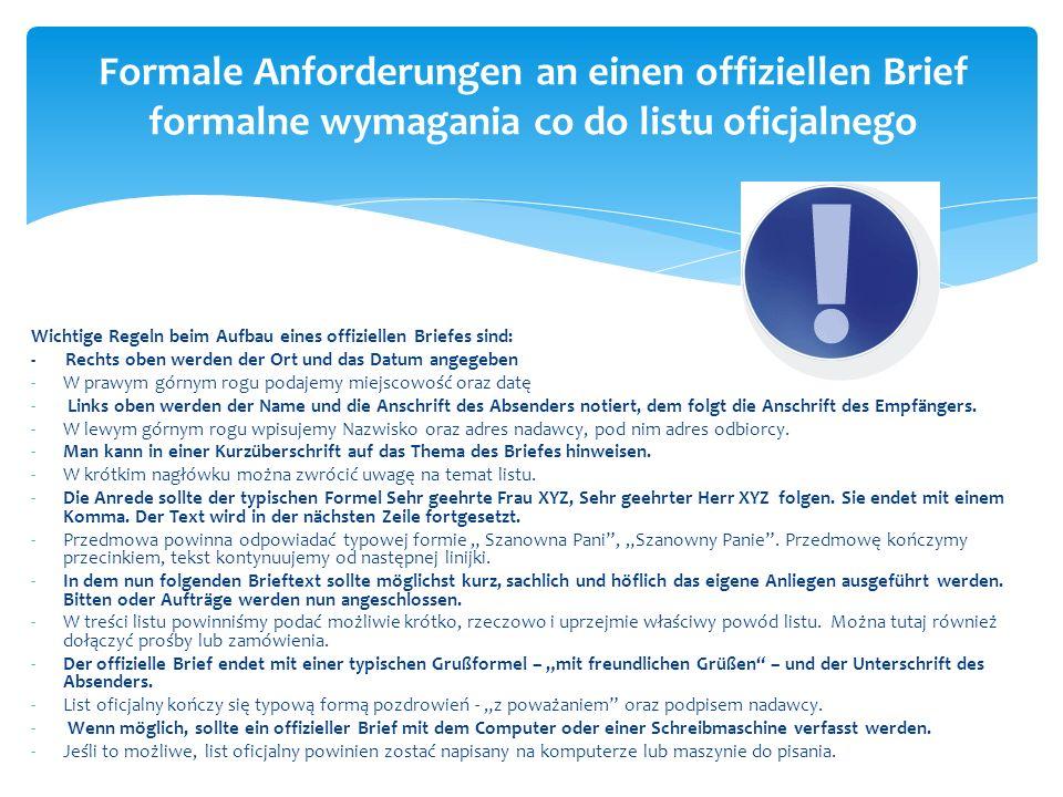 Formale Anforderungen an einen offiziellen Brief formalne wymagania co do listu oficjalnego