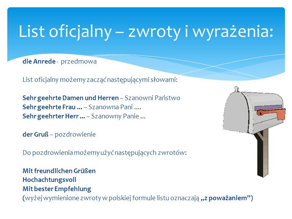 List oficjalny – zwroty i wyrażenia: