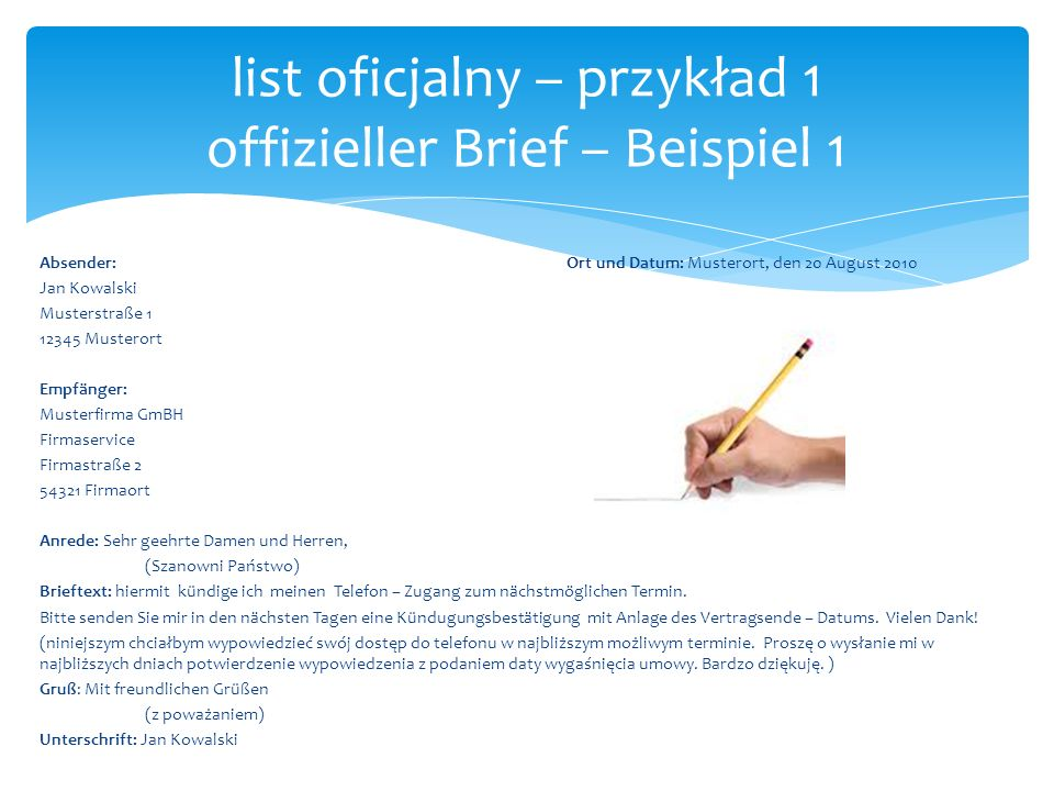 list oficjalny – przykład 1 offizieller Brief – Beispiel 1