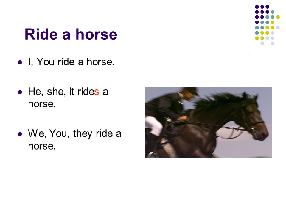 Ride a horse I, You ride a horse. He, she, it rides a horse.