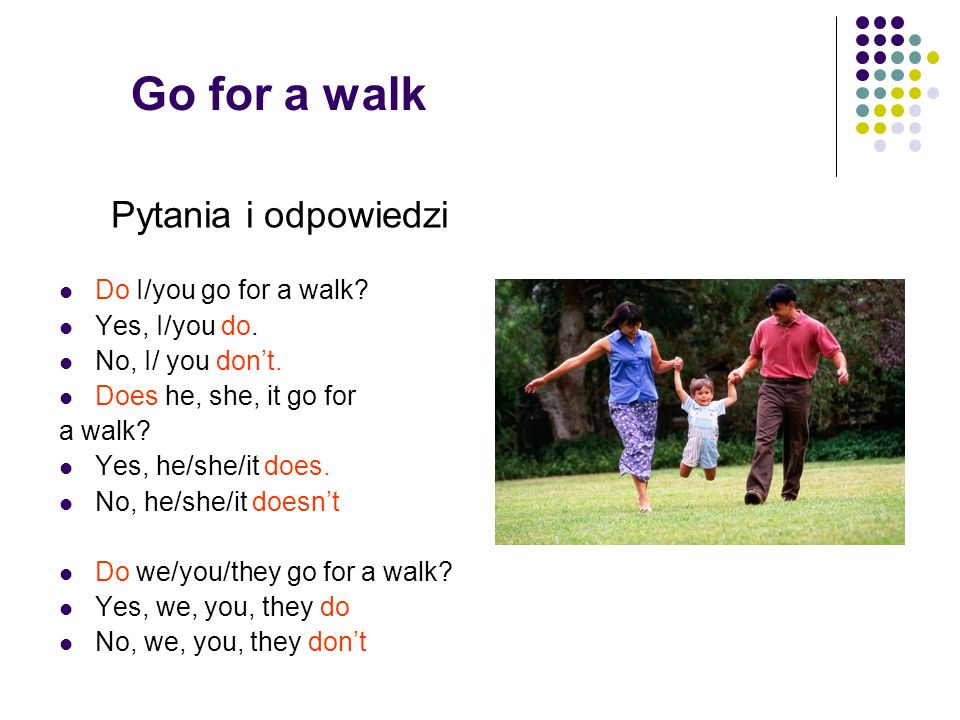 Go for a walk Pytania i odpowiedzi Do I/you go for a walk