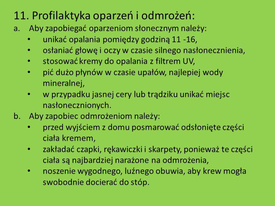 11. Profilaktyka oparzeń i odmrożeń: