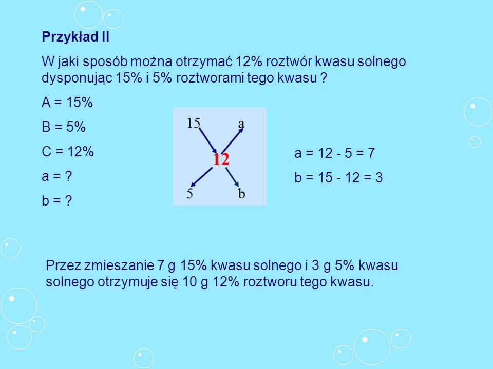 Przykład II W jaki sposób można otrzymać 12% roztwór kwasu solnego dysponując 15% i 5% roztworami tego kwasu