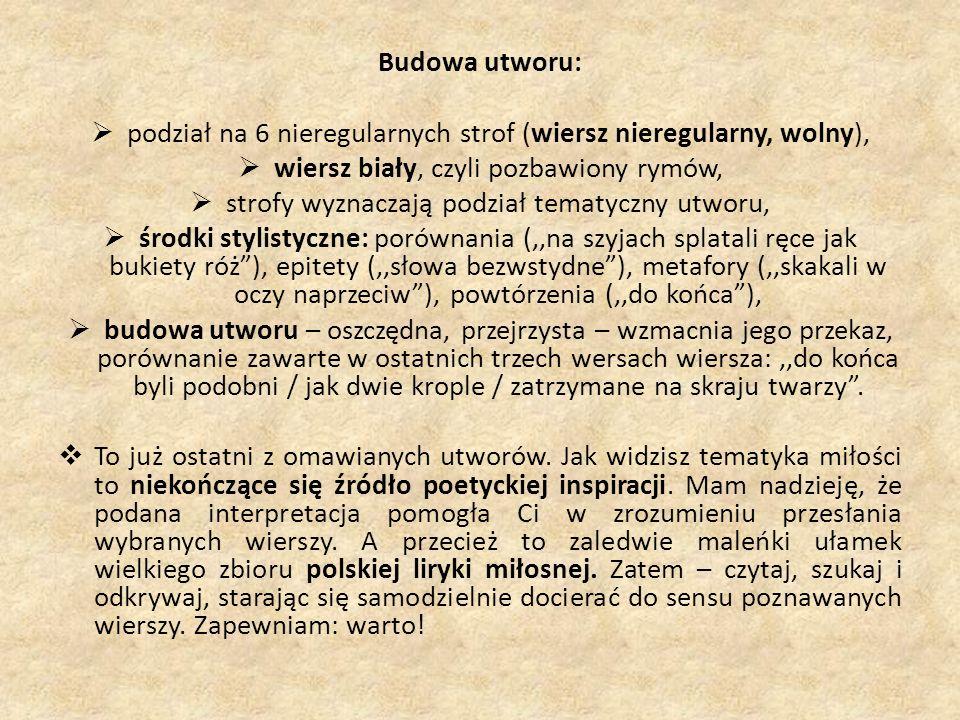 podział na 6 nieregularnych strof (wiersz nieregularny, wolny),