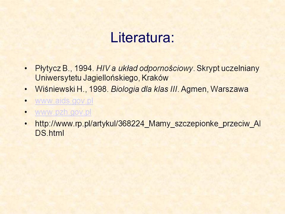 Literatura: Płytycz B., 1994. HIV a układ odpornościowy. Skrypt uczelniany Uniwersytetu Jagiellońskiego, Kraków.