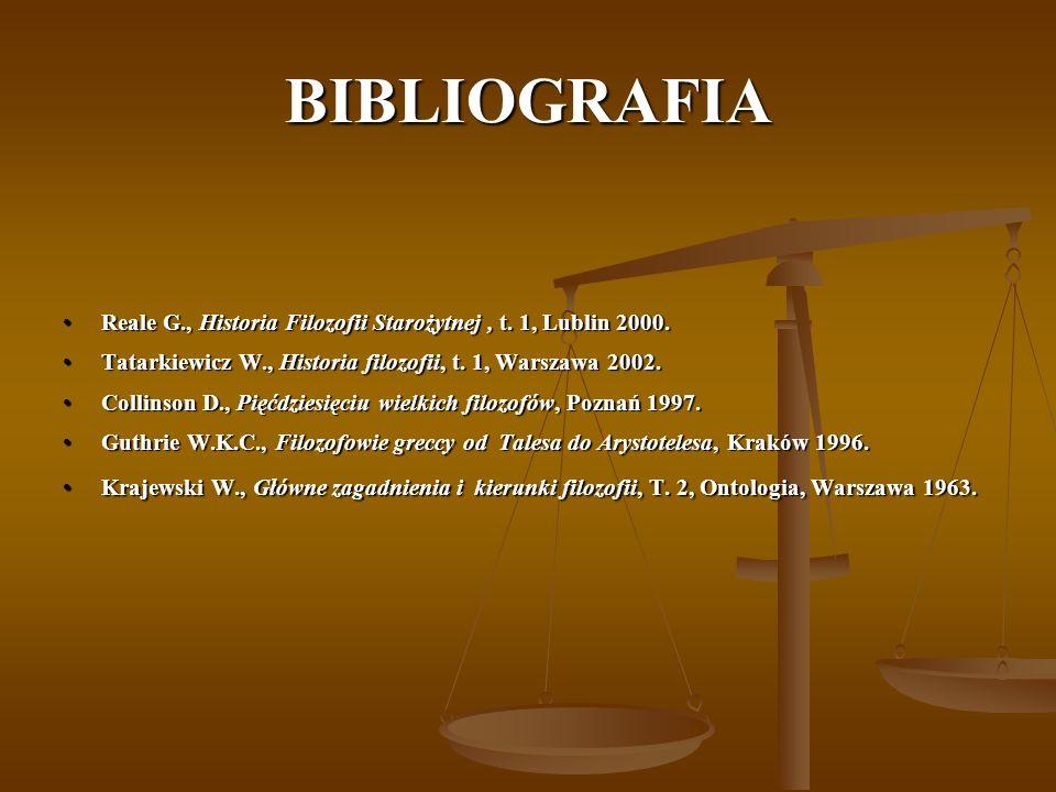 BIBLIOGRAFIA Reale G., Historia Filozofii Starożytnej , t. 1, Lublin 2000. Tatarkiewicz W., Historia filozofii, t. 1, Warszawa 2002.