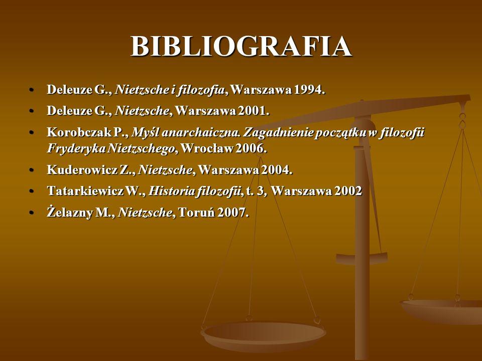 BIBLIOGRAFIA Deleuze G., Nietzsche i filozofia, Warszawa 1994.