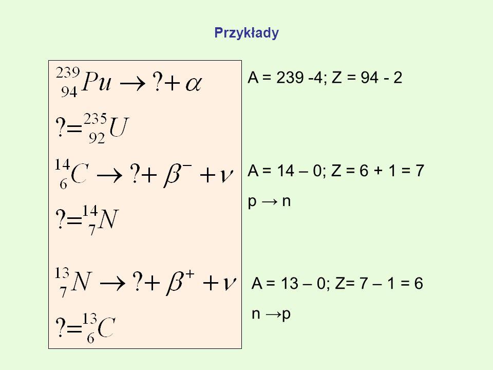 Przykłady A = 239 -4; Z = 94 - 2 A = 14 – 0; Z = 6 + 1 = 7 p → n A = 13 – 0; Z= 7 – 1 = 6 n →p