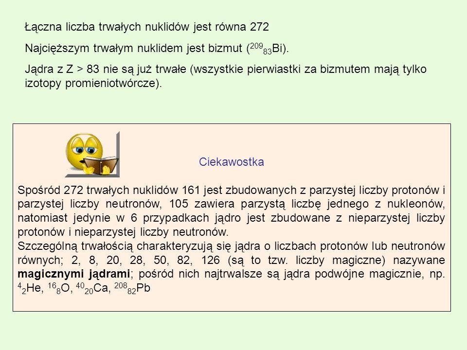 Łączna liczba trwałych nuklidów jest równa 272