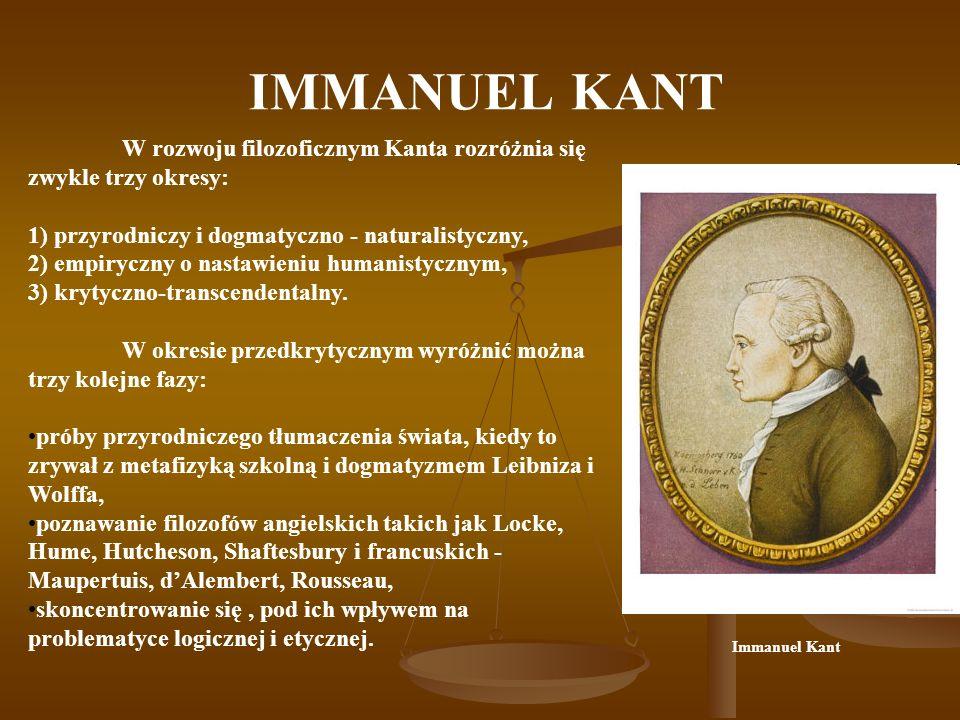 IMMANUEL KANT W rozwoju filozoficznym Kanta rozróżnia się zwykle trzy okresy: