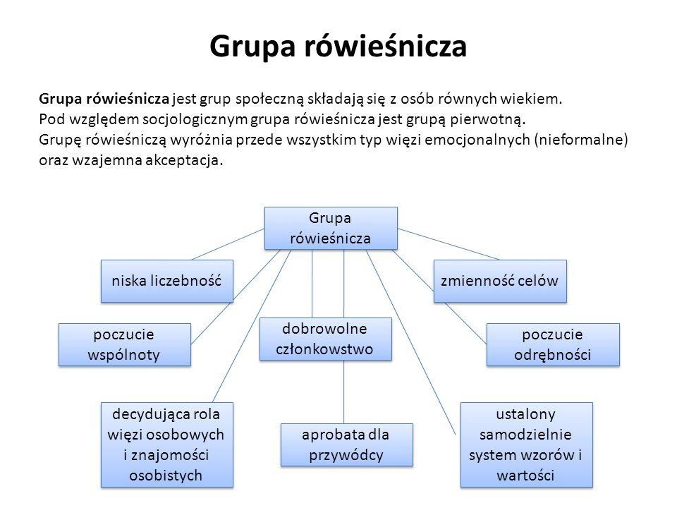 Grupa rówieśnicza Grupa rówieśnicza jest grup społeczną składają się z osób równych wiekiem.