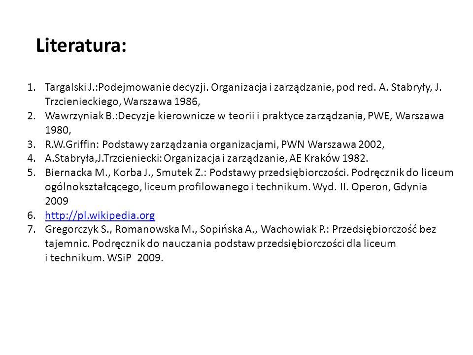 Literatura: Targalski J.:Podejmowanie decyzji. Organizacja i zarządzanie, pod red. A. Stabryły, J. Trzcienieckiego, Warszawa 1986,