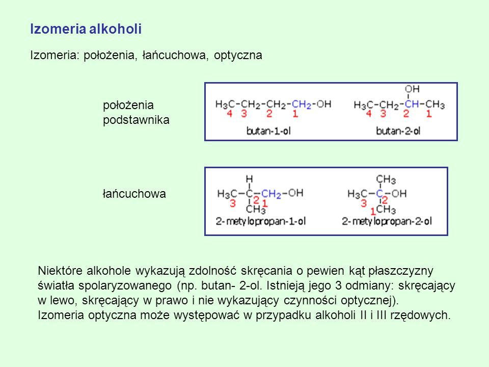 Izomeria alkoholi Izomeria: położenia, łańcuchowa, optyczna