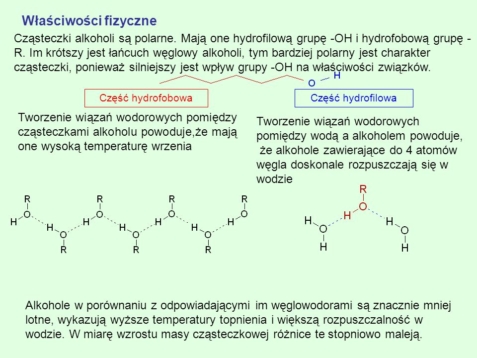 Właściwości fizyczne Część hydrofilowa. Część hydrofobowa.