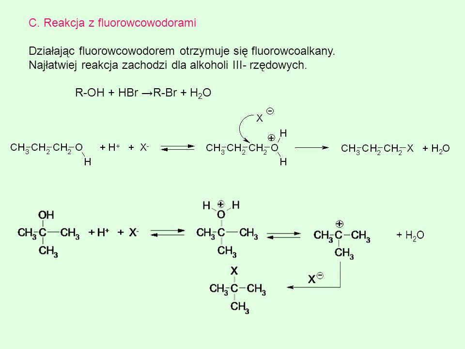 C. Reakcja z fluorowcowodorami
