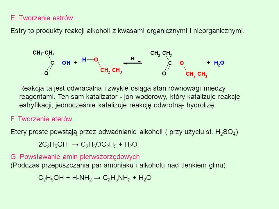 E. Tworzenie estrów Estry to produkty reakcji alkoholi z kwasami organicznymi i nieorganicznymi.