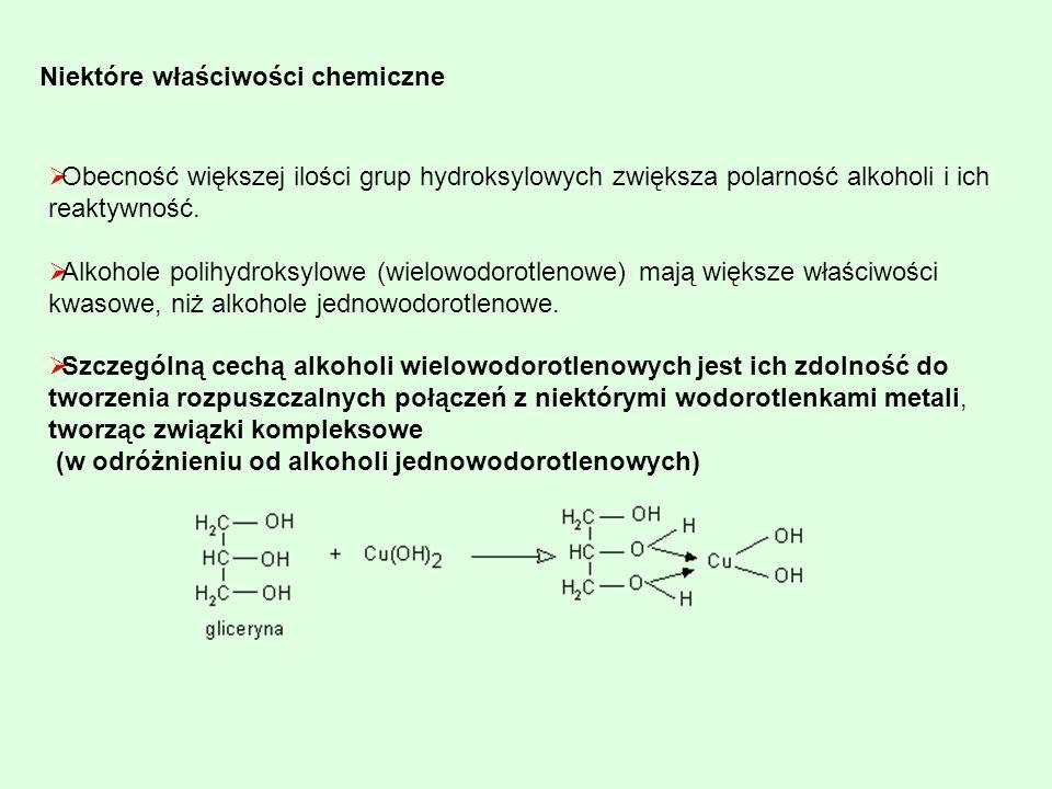 Niektóre właściwości chemiczne