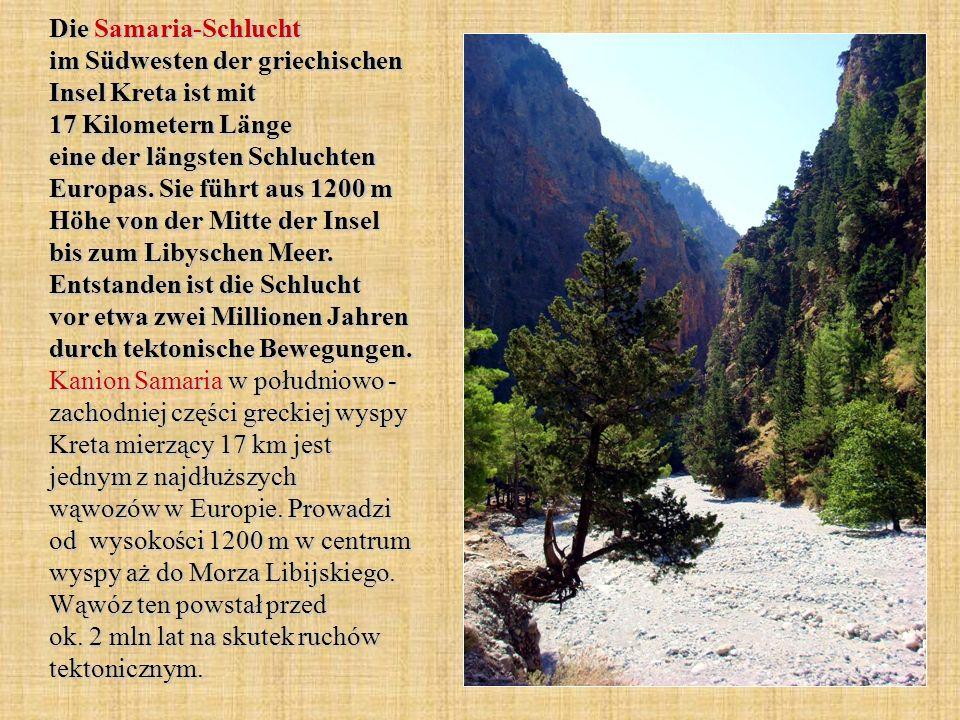 Die Samaria-Schlucht im Südwesten der griechischen Insel Kreta ist mit 17 Kilometern Länge eine der längsten Schluchten Europas.