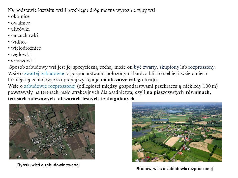 Na podstawie kształtu wsi i przebiegu dróg można wyróżnić typy wsi: