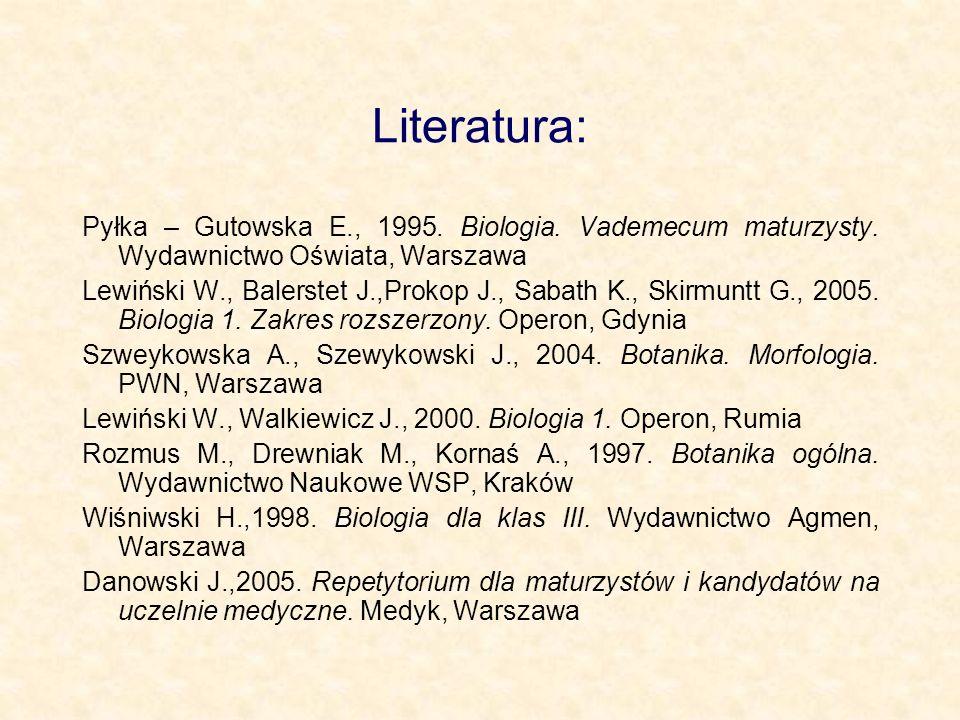 Literatura: Pyłka – Gutowska E., 1995. Biologia. Vademecum maturzysty. Wydawnictwo Oświata, Warszawa.