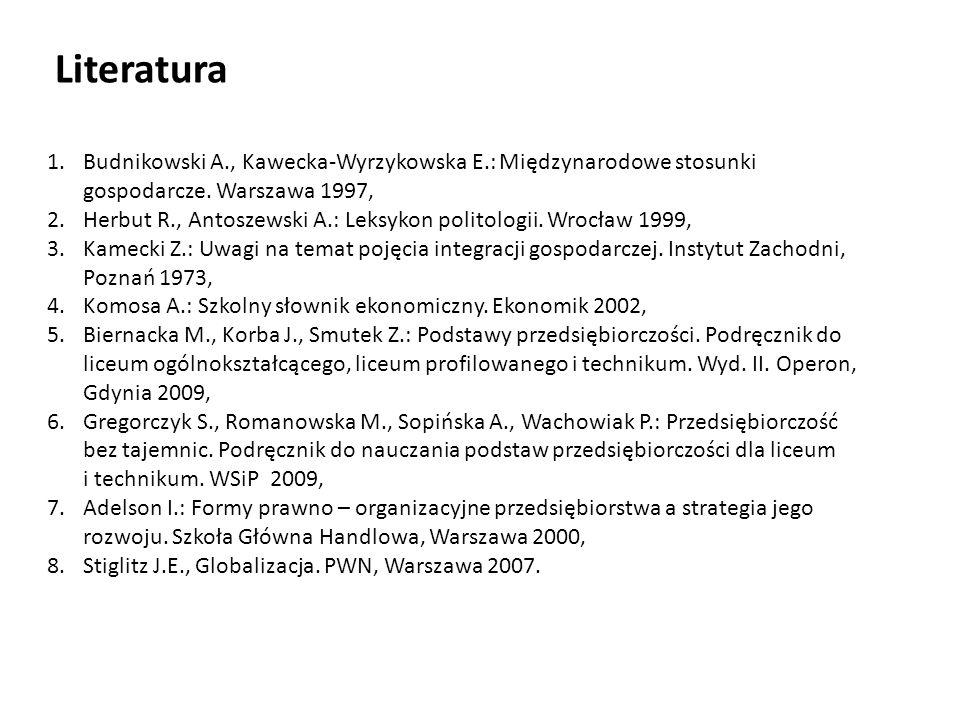 Literatura Budnikowski A., Kawecka-Wyrzykowska E.: Międzynarodowe stosunki gospodarcze. Warszawa 1997,
