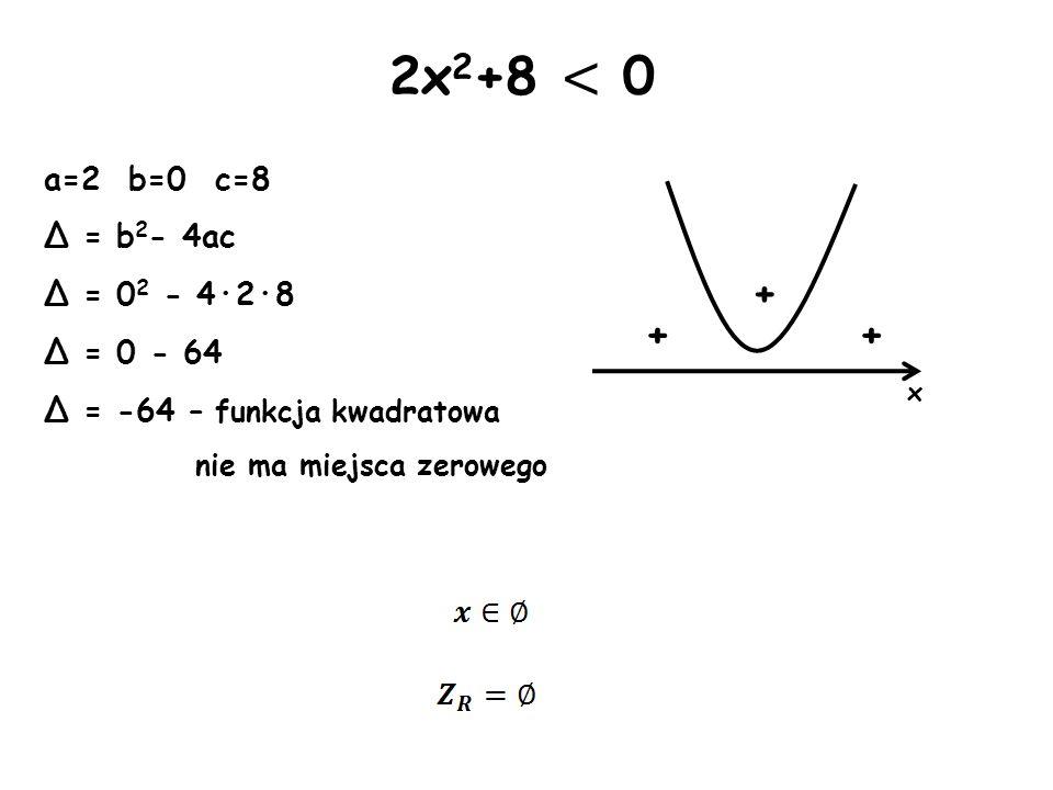 2x2+8 < 0 + + + a=2 b=0 c=8 Δ = b2- 4ac Δ = 02 - 4·2·8 Δ = 0 - 64
