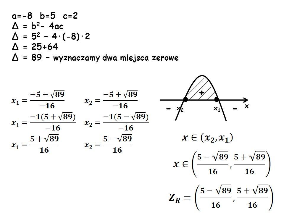 · · + - - a=-8 b=5 c=2 Δ = b2- 4ac Δ = 52 – 4·(-8)·2 Δ = 25+64