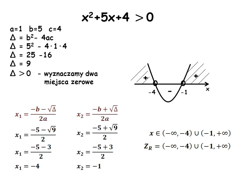 x2+5x+4 > 0 o + + - a=1 b=5 c=4 Δ = b2- 4ac Δ = 52 - 4·1·4