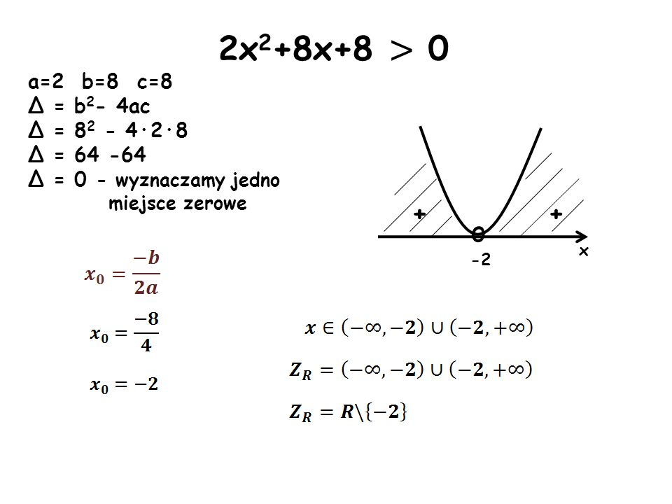 2x2+8x+8 > 0 + + a=2 b=8 c=8 Δ = b2- 4ac Δ = 82 - 4·2·8 Δ = 64 -64