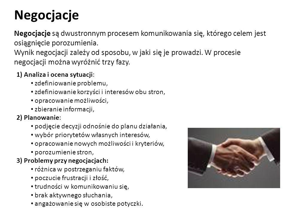 Negocjacje Negocjacje są dwustronnym procesem komunikowania się, którego celem jest osiągnięcie porozumienia.