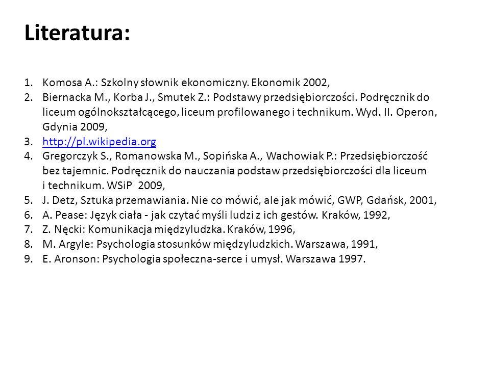 Literatura: Komosa A.: Szkolny słownik ekonomiczny. Ekonomik 2002,