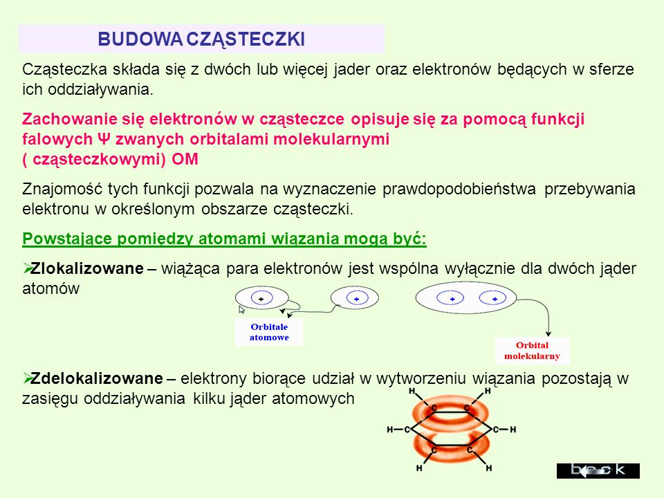 BUDOWA CZĄSTECZKI Cząsteczka składa się z dwóch lub więcej jader oraz elektronów będących w sferze ich oddziaływania.