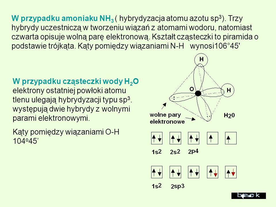 W przypadku amoniaku NH3 ( hybrydyzacja atomu azotu sp3)