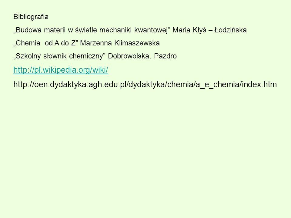"""Bibliografia """"Budowa materii w świetle mechaniki kwantowej Maria Kłyś – Łodzińska. """"Chemia od A do Z Marzenna Klimaszewska."""