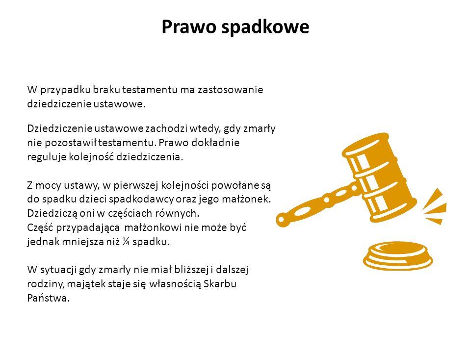 Prawo spadkoweW przypadku braku testamentu ma zastosowanie dziedziczenie ustawowe.