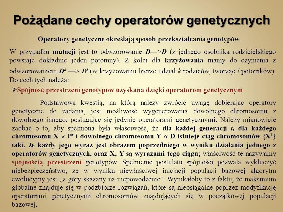 Pożądane cechy operatorów genetycznych