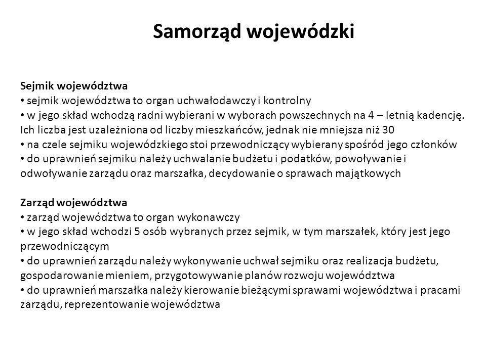 Samorząd wojewódzki Sejmik województwa