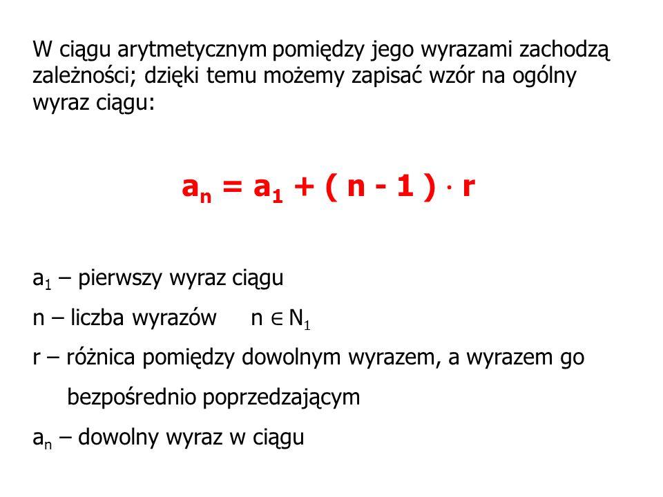 W ciągu arytmetycznym pomiędzy jego wyrazami zachodzą